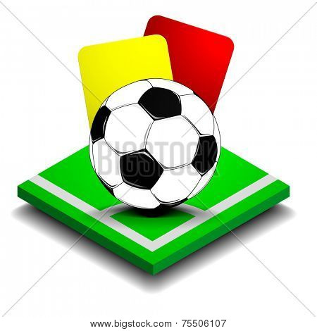 detailed illustration of red and yellow card behind a soccer ball on a small green field, eps10 vector
