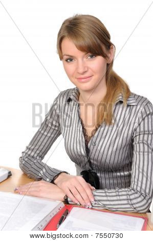 Businesswoman With  Books On  Table