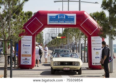 Finish Line Of The Rally Tour Amical. A Classic Car Rally, In Thessaloniki, Greece.