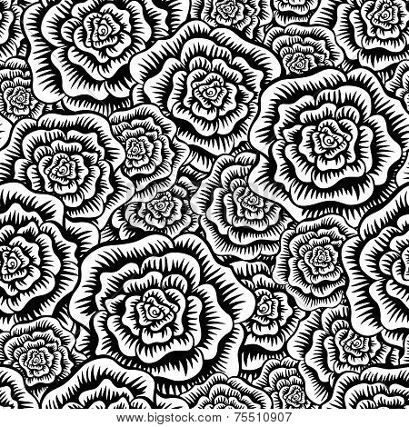 Black And White Etched Roses Seamless Pattern