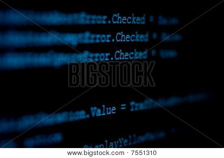 Computer Monitor Displaying Program Source Code In Blue