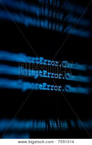 Computer Monitor Showing Code Zooming In On The Word Error