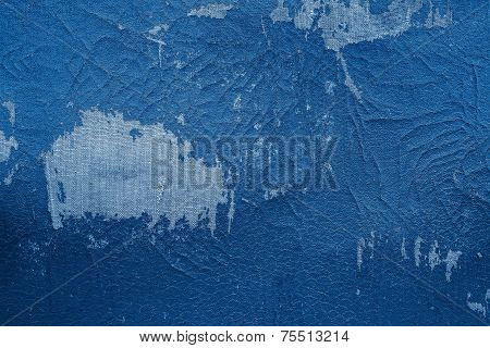 Old Fabric Leather Of Blue Color With Attritions