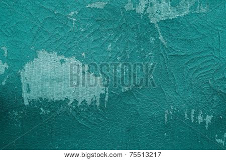 Old Fabric Leather Of Green Color With Attritions