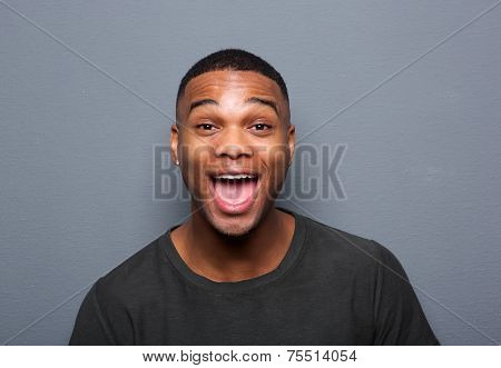 Close Up Portrait Of A Young Man Making Funny Face