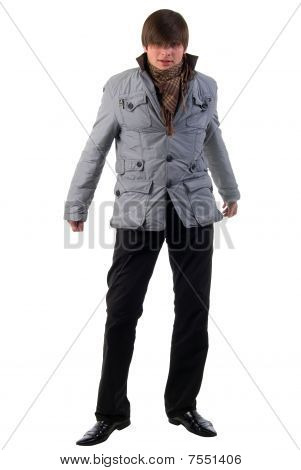 Adult Fashion Boy. Front View. Studio Shoot Over White Background.