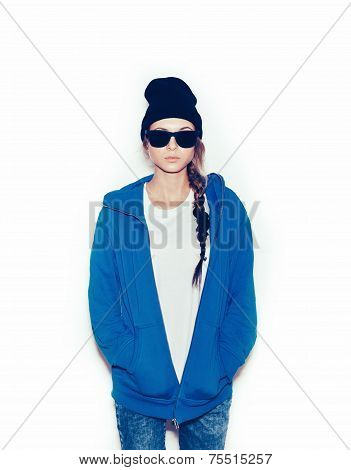 Hipster Girl In Blue Hoodie And Black Beanie