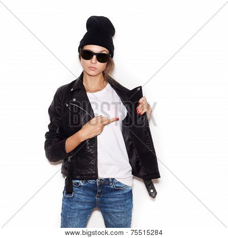 Young Woman In Sunglasses Showing Middle Finger Over White