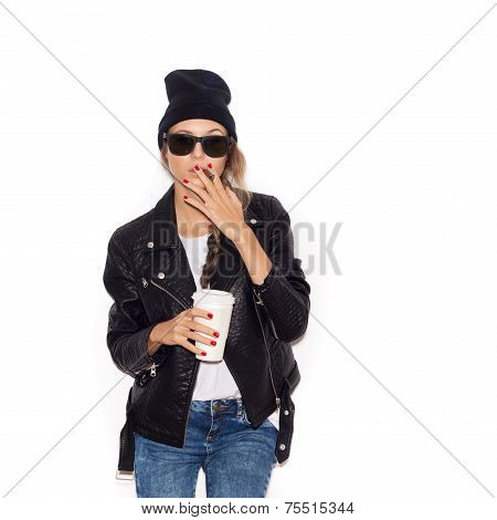 Hipster Girl In Sunglasses And Black Beanie Smoking Cigar