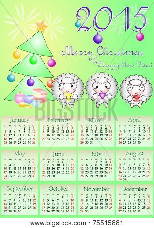 Calendar Grid For 2015 Year With Marked Weekend Days