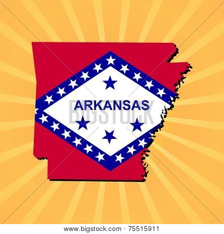 Arkansas map flag on sunburst illustration