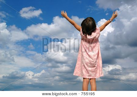 Litle Girl With Arms Raised