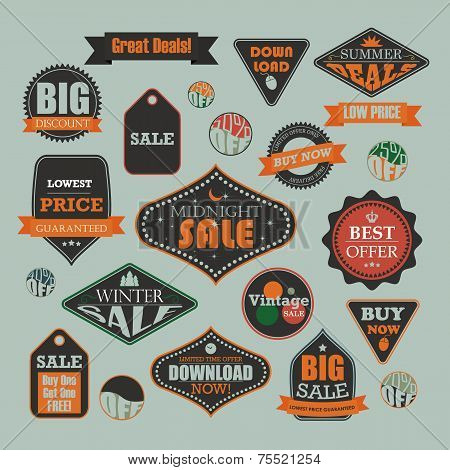 Vintage sale and promotional advertising labels