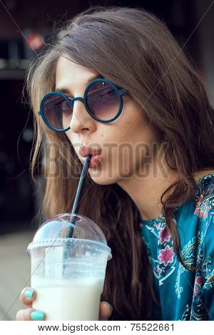 Woman Hipster With Glasses Drinking Milk Shake