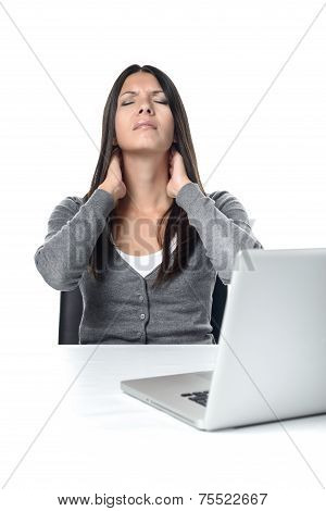 Woman Rubbing Her Neck To Relieve Stiffness