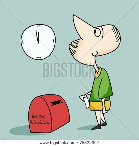 Young cartoon man watching clock and waiting for New Year to post his resolution.