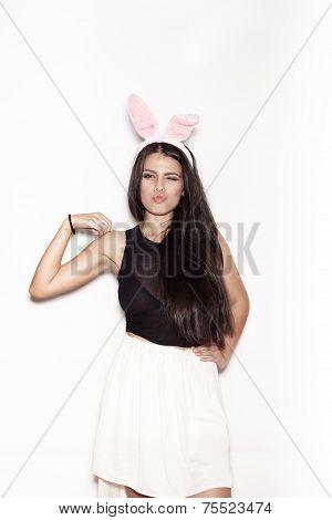 Sweet Girl Having Fun On White Background