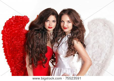 Beautiful Fashion Valentines Girls Angels With Angel's Wings. Isolated On White Background.
