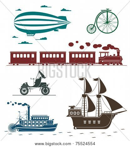 Set of vintage transportation icons: bicycle, zeppelin, train, pirate ship, car, steamboat.
