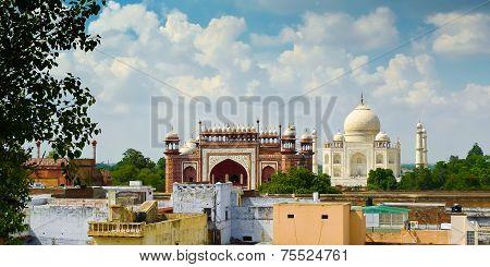 Taj Mahal View From Roofs