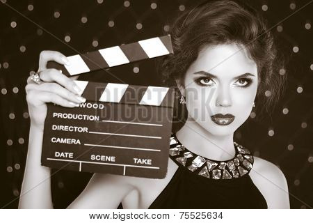 Retro Casting Tests, Woman Holding Cinema Clap. Super Star Model Shot. Vintage Photo