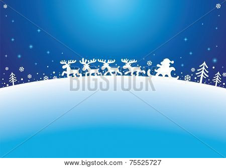 Santa, Reindeers and firs Silhouettes on blue background