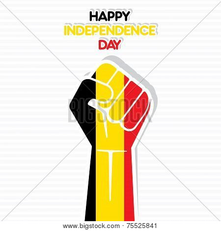 Flag of belgium in hand , happy Independence Day design vector