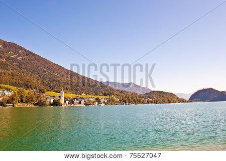 Town St. Wolfgang On Wolfgangsee Lake