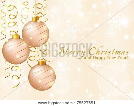 Greeting Card With Christmas Balls. Vector Illustration.