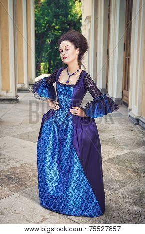 Beautiful Woman In Blue Medieval Dress