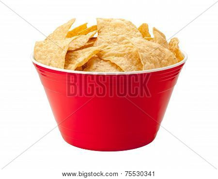 Tortilla Chips In A Red Bowl