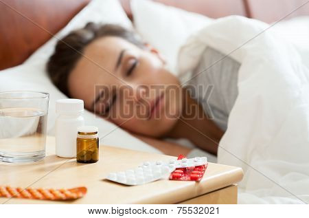Woman Having Autumn Flu