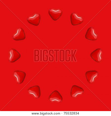 Circle of love on red background for valentines day, father's day and mother's day