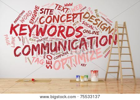 Red communication keywords tag cloud on a wall with paint cans and ladder (3D Rendering)