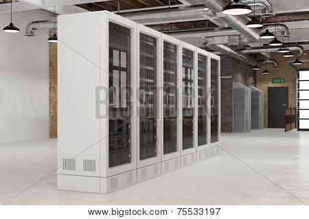 Data center with server rack in a room for private cloud computing (3D Rendering)