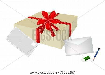A Lovely Gift Box with Envelope and Postcard