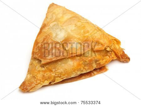 Indian samosa filled with meat curry mixture.
