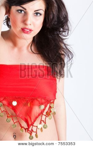 Beautiful Young Woman In Red Oriental Shawl