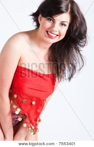 Beautiful Young Woman In Red Oriental Shawl Smiling