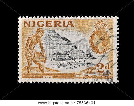 Nigeria 1953 Tin mining stamp
