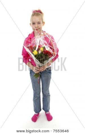 Girl With Bouquet Of Colorful Roses