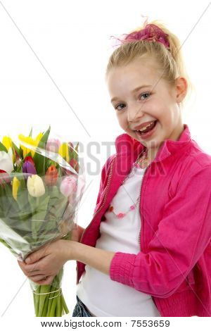 Girl With Bouquet Of Colorful Dutch Tulips