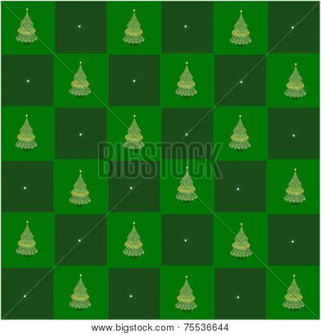 Christmas Tree in Green and Dark Green Chess Board