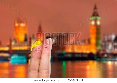 Lovely couple fingers in London, England