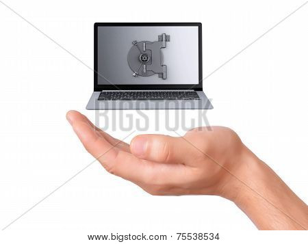 hand hold security Laptop. Data security concept.