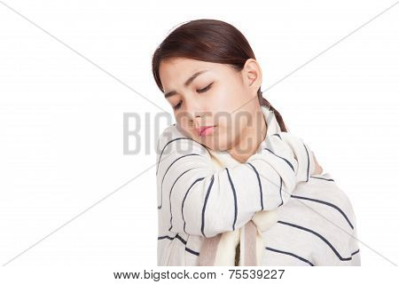 Beautiful Asian Girl With Scarf Got Back Pain