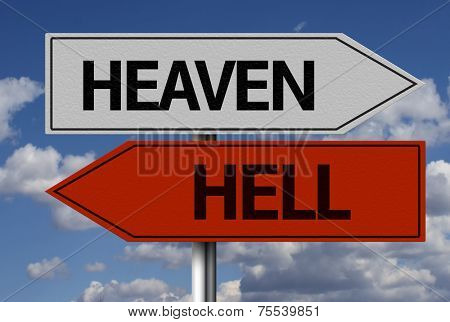 Creative sign with the message - Heaven, Hell