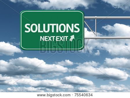 Creative sign with the text - Solutions, Next Exit