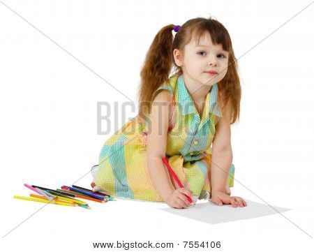 Child Draws With Colored Pencils