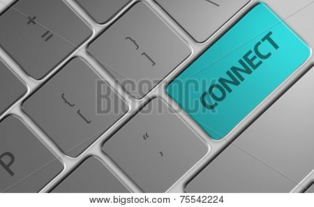 Computer keyboard with word Connect